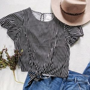 Socialite Black and White Stripes Tie Front Top